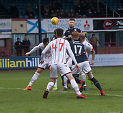 3rd February 2018, Dens Park, Dundee, Scotland; Scottish Premier League football, Dundee versus Ross County; Kerr Waddell of Dundee heads home for 1-1