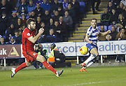 Reading midfielder, Hal Robson-Kanu whips a cross in to the 6 yard box during the Sky Bet Championship match between Reading and Blackburn Rovers at the Madejski Stadium, Reading, England on 20 December 2015. Photo by Andy Walter.