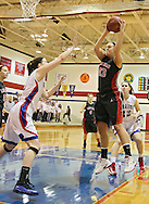 Linn-Mar Lion's Alexis Libenguth (43) pulls in a rebound in front of Washington Warrior's Abby Herb (2) during their Regional Semi-Final game at Washington High School in Cedar Rapids on Saturday, February 16 2013.