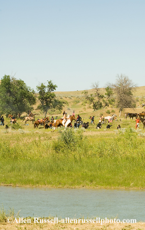 Custers Last Stand Reenactment, Battle of the Little Bighorn, Warriors defeat Custer and 7th Cavalry