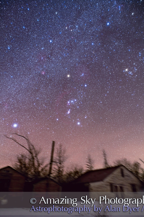 Orion, Sirius and Taurus with Canon 5D MkII and 24mm Canon L-series lens at f/4 for stack of 4 x 4 minutes at ISO 800 and 2 x 4 minutes with Kenko Softon filter for star glows. Taken Jan 16, 2010. Landscape masked so only the landscape from one image used in composite, but sky is stack of 6 images. Taken from southern Alberta, Canada.