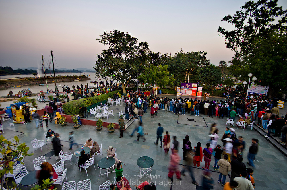 A typical evening at Sukhna Lake. People are enjoying musical event.
