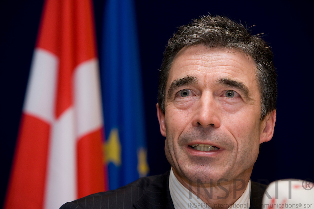 BRUSSELS - BELGIUM - 14 DECEMBER 2007 -- EU SUMMIT -- Anders Fogh RASMUSSEN, Danish Prime Minister, at the national press briefing after the EU-Summit. ---DENMARK OUT---Photo: Erik Luntang