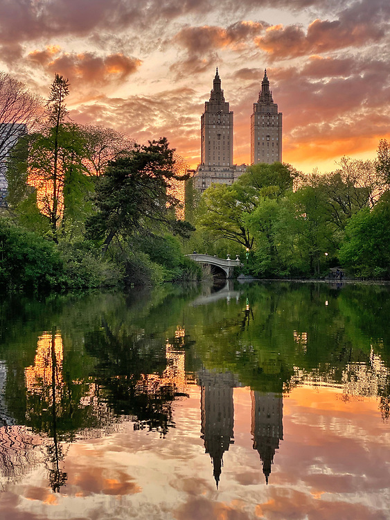The sunset over the Bow Bridge in Central Park, NYC