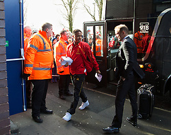 WEST BROMWICH, ENGLAND - Sunday, February 2, 2014: Liverpool's Raheem Sterling steps off the team coach as the squad arrive at The Hawthorns ahead of the Premiership match against West Bromwich Albion at the Hawthorns. (Pic by David Rawcliffe/Propaganda)