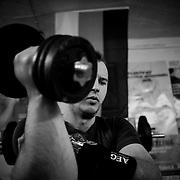 27.08.2014, Sachsen-Anhalt, Bebertal bei Haldensleben, im Keller des elterlichen Hauses.In seinem Trainingsraum im Untergeschoss trainiert Matthias vor allem Kraft und Ausdauer.<br /><br />27.08.2014 , Saxony- Anhalt, Bebertal in Haldensleben, in the basement of his parents' Hauses.In his workout room in the basement trained Matthias especially strength and endurance. <br /><br />&copy;2014 Harald Krieg / Agentur Focus