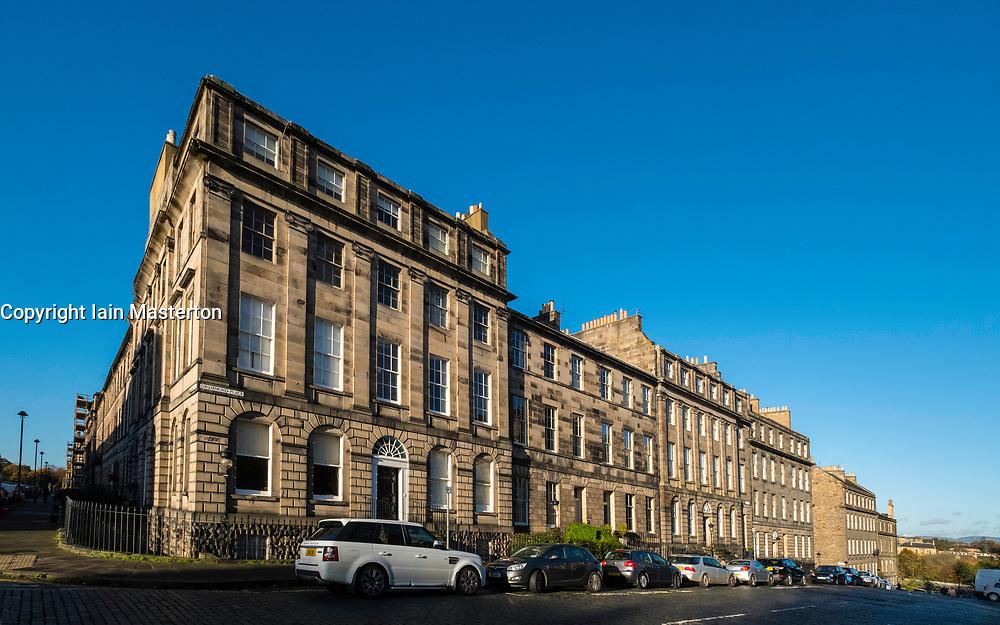 Row of Georgian terraced townhouses  in Edinburgh New Town,  Scotland, United Kingdom.