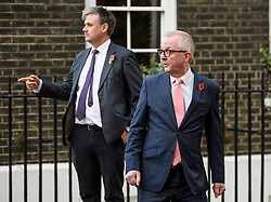 © Licensed to London News Pictures. 07/11/2019. London, UK. Former Labour MPs IAN AUSTIN and JOHN WOODCOCK arriving at a press conference in Westminster, London following an interview in which IAN AUSTIN called for people to vote for the Conservative party in order to keep Jeremy Corbyn out of Downing Street. A general election has been called on December 12th in an attempt to get a Brexit agreement through parliament. Photo credit: Ben Cawthra/LNP
