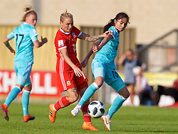 NEWPORT, WALES - Tuesday, June 12, 2018: Wales' Jessica Fishlock and Russia's Lipa Yakupova during the FIFA Women's World Cup 2019 Qualifying Round Group 1 match between Wales and Russia at Newport Stadium. (Pic by David Rawcliffe/Propaganda)