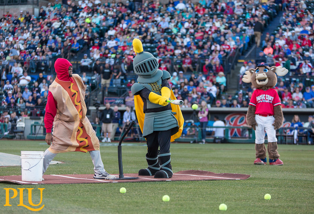 Lance Lute mascot taking part in the Triple-A Home Run Derby in Tacoma PLU, Monday, July 10, 2017. (Photo: John Froschauer/PLU)