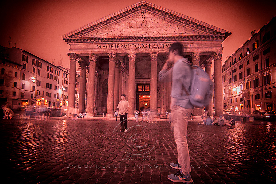 Infrared photography, Pantheon Rome , Italy red