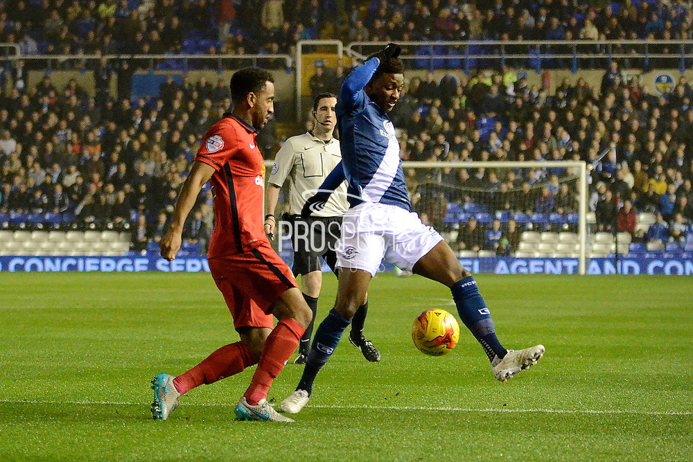 Birmingham City midfielder Demarai Gray blocks Blackburn Rovers midfielder Lee Williamson clearance during the Sky Bet Championship match between Birmingham City and Blackburn Rovers at St Andrews, Birmingham, England on 3 November 2015. Photo by Alan Franklin.