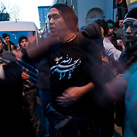 LONDON, ENGLAND - DECEMBER 27:  Shiite worshippers beat on their chest during the Ashura procession in Central London on December 27, 2009 in London, England.Ashura is a 10 day period of mourning for Imam Hussein, the seven-century grandson of Prophet Mohammad who was killed in a battle in Karbala in Iraq, in 680 AD....***Agreed Fee's Apply To All Image Use***.Marco Secchi /Xianpix. tel +44 (0) 771 7298571. e-mail ms@msecchi.com .www.marcosecchi.com