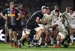 Stephen Lewies of Harlequins takes on the Ulster defence - Mandatory byline: Patrick Khachfe/JMP - 07966 386802 - 13/12/2019 - RUGBY UNION - The Twickenham Stoop - London, England - Harlequins v Ulster Rugby - Heineken Champions Cup