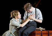 The Seagull <br /> by Anton Chekhov <br /> a new version by Torben Betts<br /> directed by Matthew Dunster<br /> at Regent's Park Open Air Theatre, London, Great Britain <br /> press photocall <br /> 22nd June 2015 <br /> <br /> Janie Dee as Irina<br /> <br /> Matthew Tennyson as Konstantin<br /> <br /> <br /> <br /> <br /> Photograph by Elliott Franks <br /> Image licensed to Elliott Franks Photography Services