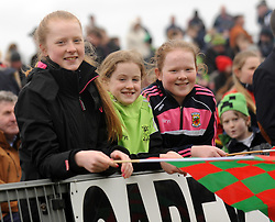 Ariana and Naomi Cahill with Leah McHugh from Ballaghadeereen at McHale park for the Mayo v Kerry national football league encounter. Pic Conor McKeown