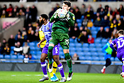 Shrewsbury Town defender goalkeeper (on loan from Bristol City) Max O'Leary (25) makes an important save  during the EFL Sky Bet League 1 match between Oxford United and Shrewsbury Town at the Kassam Stadium, Oxford, England on 7 December 2019.