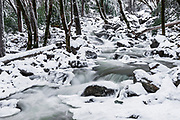 Bridalveil Creek in winter, Yosemite Valley, Yosemite National Park, California USA