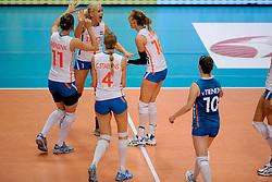 20-08-2009 VOLLEYBAL: WGP FINALS DUITSLAND - NEDERLAND: TOKYO<br /> Nederland wint ook de tweede wedstrijd. Ditmaal werd Duitelsnad met 3-2 verslagen / Debby Stam, Manon Flier, Francien Huurman, Janneke van Tienen, Chaine Staelens en Caroline Wensink<br /> ©2009-WWW.FOTOHOOGENDOORN.NL