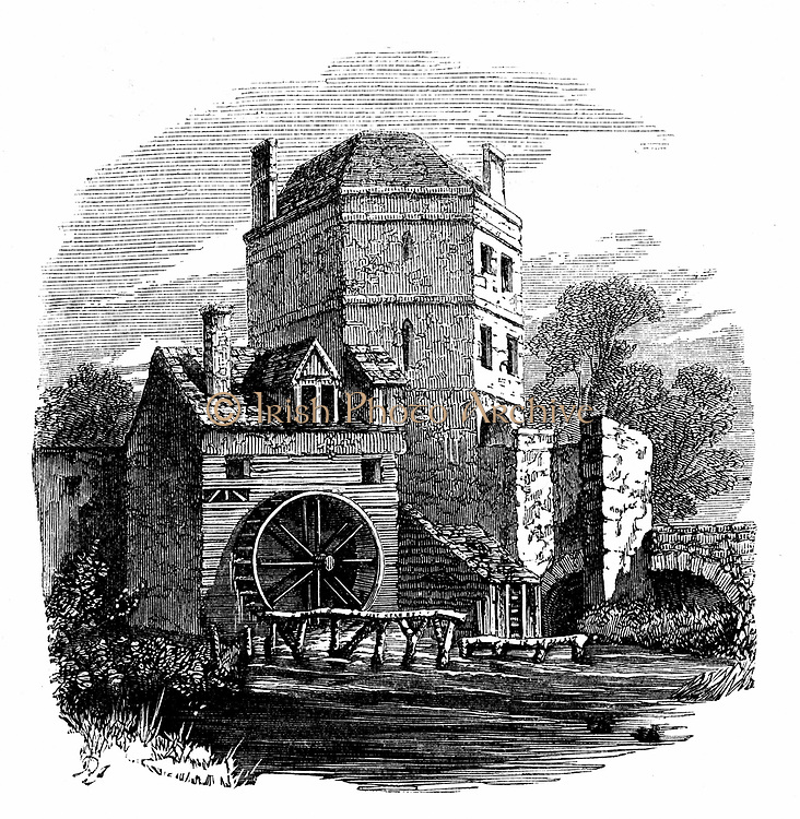 Roger Bacon (c1214-1292) English experimental scientist, philosopher and Franciscan (Grey Friar);  called 'Doctor Mirabilis'. Tower of Franciscan friary, Oxford, where Bacon had his study. Wood engraving c1860