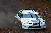 #1 Stephen Simpson / Patrick Walsh Subaru Impreza WRC Bolton-le-Moors Tudor Glass during Neil Howard Memorial Stage Rally, and opening round of the 2015 Motorsport News Rally Championship.  at Oulton Park, Little Budworth, Cheshire, United Kingdom. November 07 2015. World Copyright Peter Taylor. Copy of publication required for printed pictures.  Every used picture is fee-liable. http://archive.petertaylor-photographic.co.uk