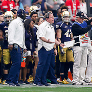 1 January 2016:  Notre Dame Fighting Irish head coach Brian Kelly expresses his displeasure with the official's call  during the BattleFrog Fiesta Bowl game between the Ohio State Buckeyes and the Notre Dame Fighting Irish at University of Phoenix Stadium in Glendale, Arizona. (Photo by Khris Hale / Icon Sportswire)