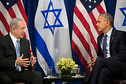 "(L to R) Prime Minister of Israel Benjamin Netanyahu speaks to U.S. President Barack Obama during a bilateral meeting at the Lotte New York Palace Hotel, September 21, 2016 in New York City. Last week, Israel and the United States agreed to a $38 billion, 10-year aid package for Israel. Obama is expected to discuss the need for a ""two-state solution"" for the Israeli-Palestinian conflict. Photo by Drew Angerer/Pool/ABACAPRESS.COM"