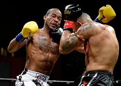 October 6, 2018 - Mashantucket, CT, U.S. - MASHANTUCKET, CT - OCTOBER 06: Chip Moraza-Pollard (red tape) lands a counter punch on Remy Vectol (blue tape) in a World Cruiserweight Title bout on October 06, 2018 at Lion Fight 47 at the Fox Theater of Foxwoods Casino in Mashantucket, Connecticut. Chip Moraza-Pollard defeats Remy Vectol via tko of round 3. (Photo by Williams Paul/Icon Sportswire) (Credit Image: © Williams Paul/Icon SMI via ZUMA Press)
