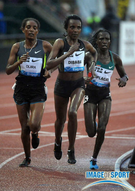 Jun 1, 2012; Eugene, OR, USA; Tirunesh Dibaba defeats Beleynesh Oljira (ETH) and Florence Kiplagat (KEN) to win the womens 10,000m in 30:24.39 in the 2012 Prefontaine Classic at Hayward Field.