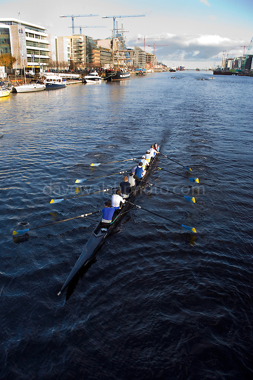 Coxed four sculls on the Rivery Liffey, Dublin, taken from Matt Talbot Bridge