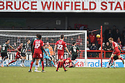 Crawley Town Defender Josh Yorwerth heads back across goal for Crawley Town Forward Shamir Fenelon to score the equalising goal during the Sky Bet League 2 match between Crawley Town and Plymouth Argyle at the Checkatrade.com Stadium, Crawley, England on 20 February 2016. Photo by David Charbit.