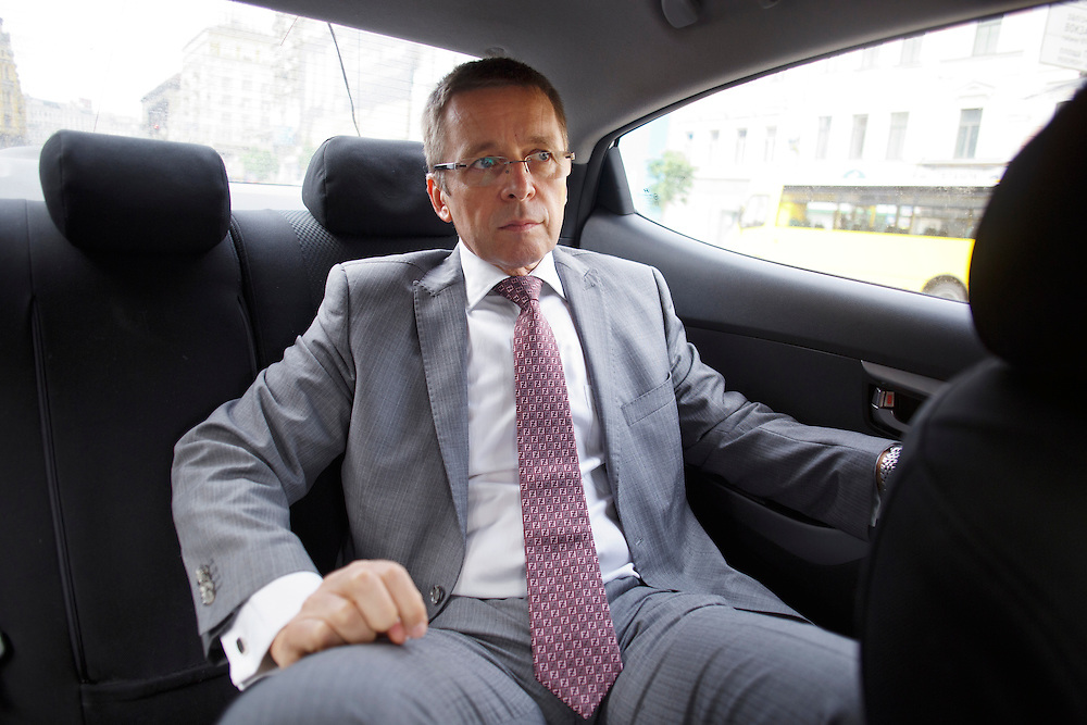 Ivan Mikloš travels by taxi from his apartment to a meeting at the Hyatt hotel on May 25, 2015 in Kyiv, Ukraine. Mr. Mikloš is Chief Advisor to the Minister of Finance of Ukraine and Advisor to the Minister of Economic Development and Trade of Ukraine.