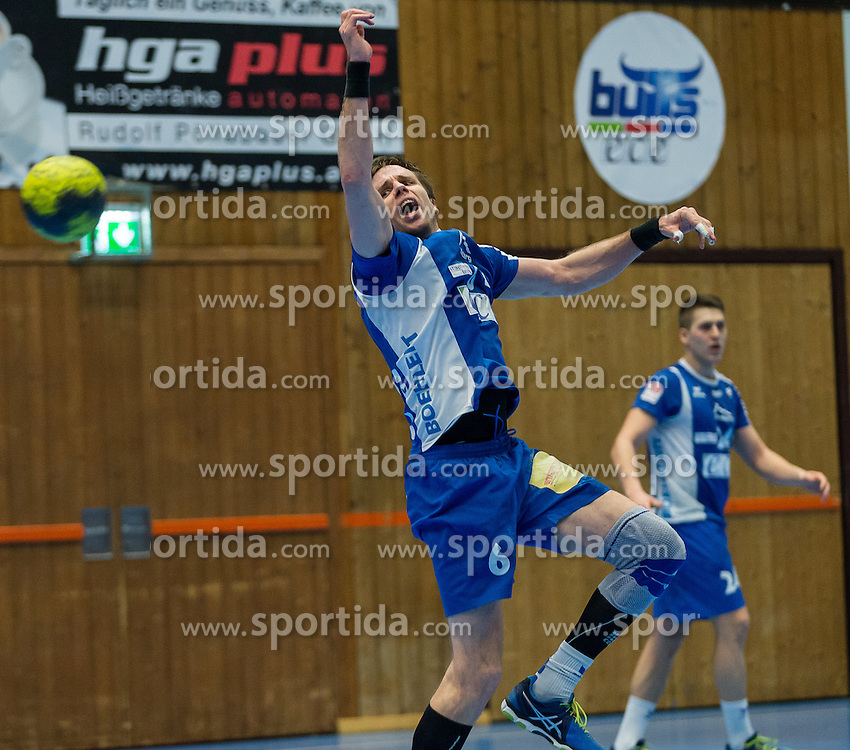 12.03.2016,Sporthalle Bruck an der Mur, Bruck an der Mur, AUT, HLA, HC ece bulls Bruck vs HSG Raiffeisen Baernbach/Koeflach, im Bild Milan Mirkovic (Bruck) // during the Handball League Austria match between HC ece bulls Bruck vs HSG Raiffeisen Baernbach/Koeflach at the sport Hall, Bruck an der Mur, Austria on 2016/03/12, EXPA Pictures © 2016, PhotoCredit: EXPA/ Dominik Angerer
