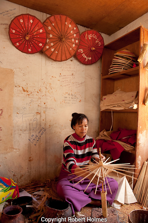 Making parasols in Pindaya, Burma