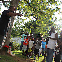RAY VAN DUSEN/BUY AT PHOTOS.MONROECOUNTYJOURNAL.COM<br /> The Rev. Cedric Doss calls for the people of Aberdeen to join together in the aftermath of the shooting tragedy of LaQuintin Walker during at march against violence last Wednesday.