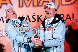 Slovenian athlete Petra Majdic and her coach Ivan Hudac opening a champaign with her home town when she arrived home with small cristal globus at the end of the nordic season 2008/2009, on March 24, 2009, in Dol pri Ljubljani, Slovenia. (Photo by Vid Ponikvar / Sportida)