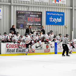 FORT FRANCES, ON - May 2, 2015 : Central Canadian Junior &quot;A&quot; Championship, game action between the Fort Frances Lakers and the Soo Thunderbirds, Championship game of the Dudley Hewitt Cup. Soo Thunderbirds players clear the bench after winning the 2015 Dudley Hewitt Cup.<br /> (Photo by Shawn Muir / OJHL Images)