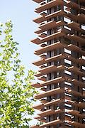 Detail of the outer covering of the building that contain the Cluster of caf&egrave; at Expo 2015, Rho-pero Milan. &copy; Carlo Cerchioli<br /> <br /> Particolare del rivestimento esterno dell'edificio che contiene il Cluster del caff&egrave; all'Expo 2015, Rho-pero, Milano.