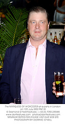 The MARQUESS OF WORCESTER at a party in London on 10th July 2002.PBZ 30