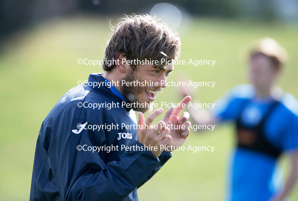 St Johnstone Training….09.09.16<br />Murray Davidson pictured during training this morning at McDiarmid Park ahead of tomorrow's game at Partick Thistle.<br />Picture by Graeme Hart.<br />Copyright Perthshire Picture Agency<br />Tel: 01738 623350  Mobile: 07990 594431