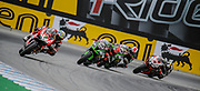 Jul 19 2015 Salinas, CA U.S.A. # 7 Chaz Davies, # 66 Tom Sykes, teammare # 65 Jonathan Rea and # 91 Leon Haslam coming out of turn11 battling for first place during the eni FIM Superbike World Championship Laguna Sega Salinas, CA  Thurman James / CSM