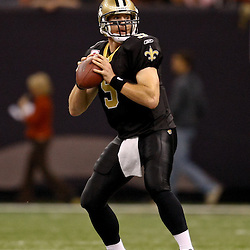 Oct 31, 2010; New Orleans, LA, USA; New Orleans Saints quarterback Drew Brees (9) during a game against the Pittsburgh Steelers at the Louisiana Superdome. The Saints defeated the Steelers 20-10.  Mandatory Credit: Derick E. Hingle