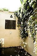 Flowered outdoor shower at Damai Lovina Villas