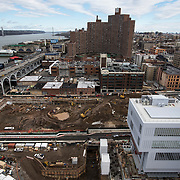 March 8, 2017 - New York, NY : Columbia University's Manhattanville campus is rising on a 17-acre site in West Harlem, north of Columbia's Morningside Heights campus.  The Renzo Piano-designed Lenfest Center for the Arts, bottom center right, and Jerome L. Greene Science Center, far bottom right, are slated to open this Spring. Excavation continues on the lot just north, which will eventually house the new Columbia Business school building. CREDIT: Karsten Moran for The New York Times