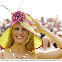28 July 2005; Blathnaid O'Donoghue, of Ennis, Co. Clare, who won the elegant hat award at the Galway Races, Ballybrit, Co. Galway. Picture credit; Pat Murphy / SPORTSFILE