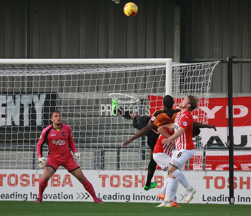 Barnet put the Exeter defence under pressure during the Sky Bet League 2 match between Barnet and Exeter City at The Hive Stadium, London, England on 31 October 2015. Photo by Bennett Dean.