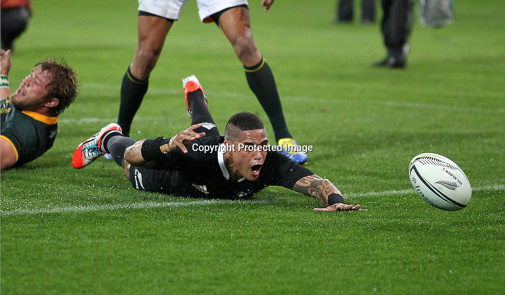 All Blacks' Aaron Smith fumbles the ball over the try line. New Zealand All Blacks V South Africa.The Rugby Championship. Rugby Union Test Match. Westpac Stadium, Wellington. 13 September 2014. Photo.: Grant Down / www.photosport.co.nz