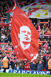 LIVERPOOL, ENGLAND - Saturday, March 8, 2008: A huge flag of Liverpool's manager Rafael Benitez flies on the Spion Kop during the Premiership match against Newcastle United at Anfield. (Photo by David Rawcliffe/Propaganda)