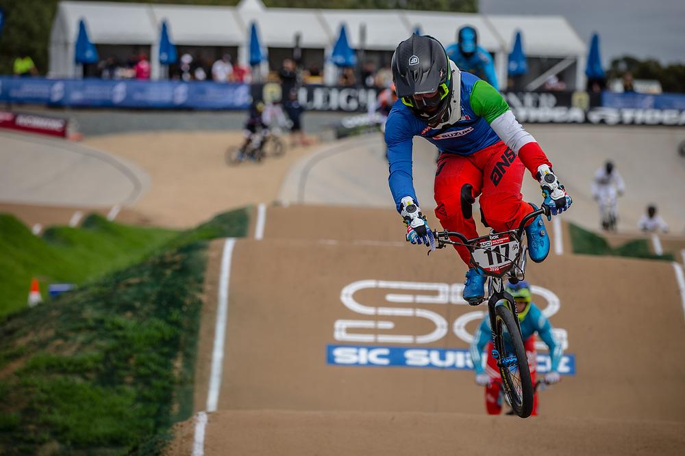 #117 (FANTONI Giacomo) ITA at Round 2 of the 2020 UCI BMX Supercross World Cup in Shepparton, Australia.