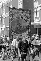 Pontefract Branch banner at the 99th Yorkshire Miners Gala. 1986 Doncaster.